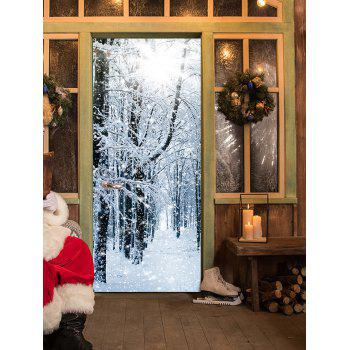 Snowy Forest Pattern Door Stickers - GRAY GRAY