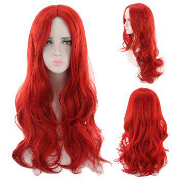 Long Middle Part Wavy Synthetic Cosplay Wig - RED RED