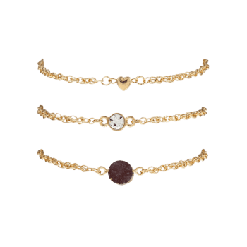 Rhinestone Natural Stone Heart Bracelet Set -  COFFEE