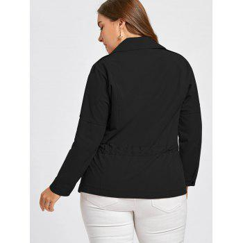 Plus Size Drawstring Double Breasted  Peplum Jacket - BLACK BLACK