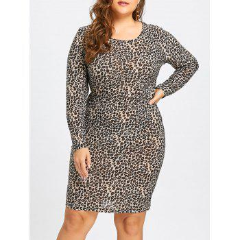 Plus Size Leopard Long Sleeve Sheath Dress - GRAY GRAY