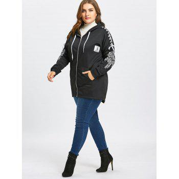 Plus Size Lace-up Zip Up Five Patched Hoodie - BLACK BLACK