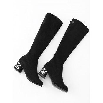 Chunky Heel Floral Embroidery Knee High Boots - BLACK 39