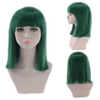 Medium Full Bang Blunt Straight Cosplay Synthetic Wig - BLACKISH GREEN BLACKISH GREEN