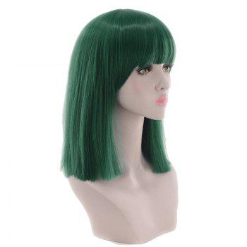 Medium Full Bang Blunt Straight Cosplay Synthetic Wig -  BLACKISH GREEN