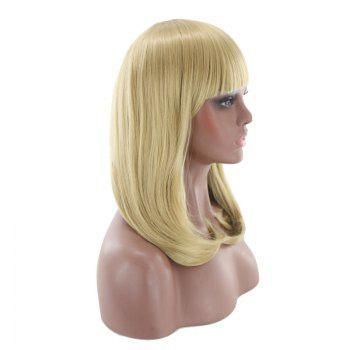 Medium Full Bang Tail Adduction Straight Cosplay Synthetic Wig - GOLDEN