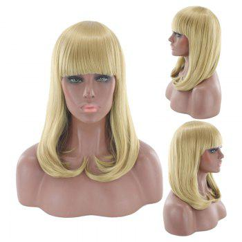 Medium Full Bang Tail Adduction Straight Cosplay Synthetic Wig - GOLDEN GOLDEN