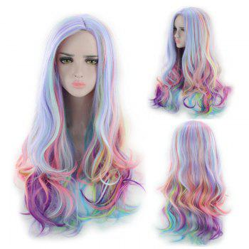 Long Side Parting Colorful Layered Wavy Cosplay Synthetic Wig - COLORMIX COLORMIX