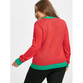 Christmas Bowknot Gift Jacquard Plus Size Sweater - RED XL