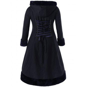 Plus Size Lace Up Hooded Coat - BLACK XL
