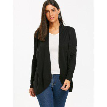 Collarless High Low Open Front Cardigan - BLACK L