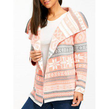 dresslily Stylish Turn-Down Collar Long Sleeve Pocket Design Printed Women's Cardigan