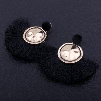 Hammered Fringed Drop Earrings -  BLACK