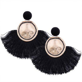 Hammered Fringed Drop Earrings - BLACK BLACK