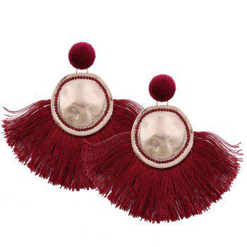 Hammered Fringed Drop Earrings - RED RED
