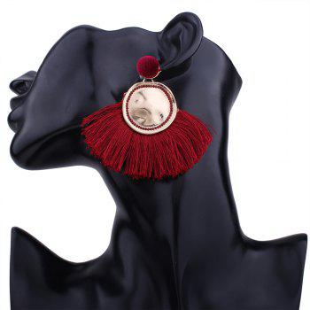 Hammered Fringed Drop Earrings -  RED