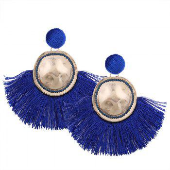 Hammered Fringed Drop Earrings - BLUE BLUE