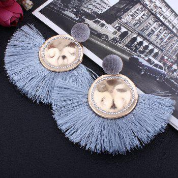 Hammered Fringed Drop Earrings - LIGHT BLUE