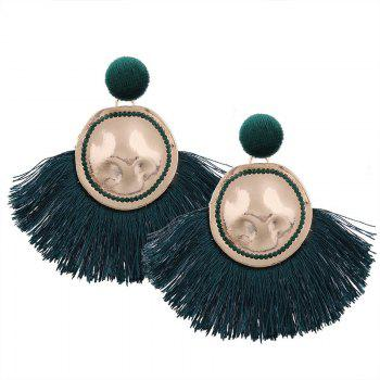 Hammered Fringed Drop Earrings - GREEN GREEN