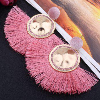 Hammered Fringed Drop Earrings -  PINK