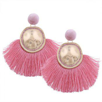 Hammered Fringed Drop Earrings - PINK PINK
