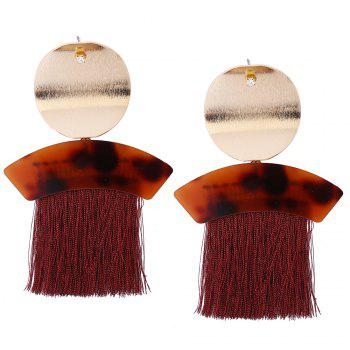 Metal Round Shape Fringed Ethnic Drop Earrings - RED RED