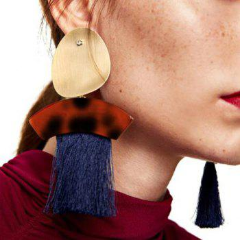 Metal Round Shape Fringed Ethnic Drop Earrings -  BLUE
