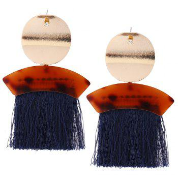 Metal Round Shape Fringed Ethnic Drop Earrings - BLUE BLUE