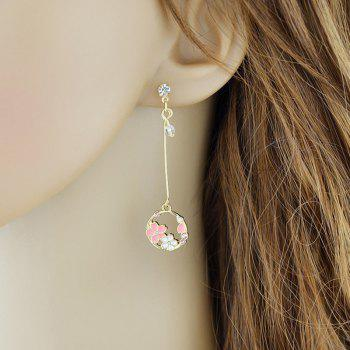 Faux Crystal Floral Shape Stud Drop Earrings - GOLDEN