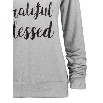 Thanksgiving Grateful Thankful Sweatshirt - GRAY GRAY