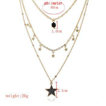 Faux Gem Layered Star Pendant Necklace -  BLACK