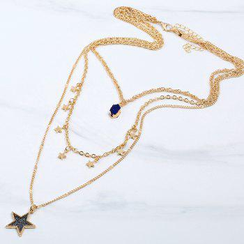 Faux Gem Layered Star Pendant Necklace -  INK BLUE