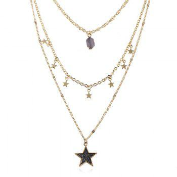 Faux Gem Layered Star Pendant Necklace - COFFEE COFFEE
