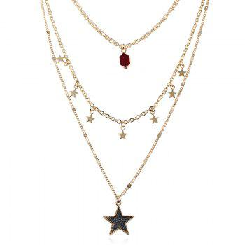 Faux Gem Layered Star Pendant Necklace - DARK RED DARK RED