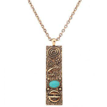 Faux Turquoise Engraved Geometric Sweater Chain - GOLDEN GOLDEN