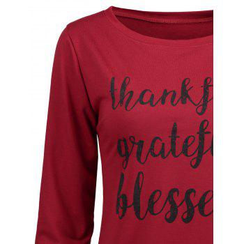 Thanksgiving Grateful Thankful Sweatshirt - WINE RED WINE RED