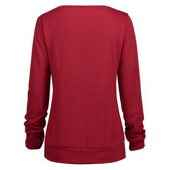 Thanksgiving Grateful Thankful Sweatshirt - WINE RED M