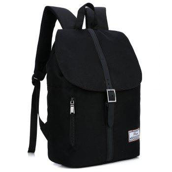Multi Function Front Zip Buckle Strap Backpack - BLACK