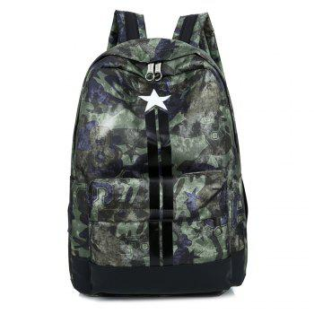 Stars Striped Print Backpack - GREEN GREEN