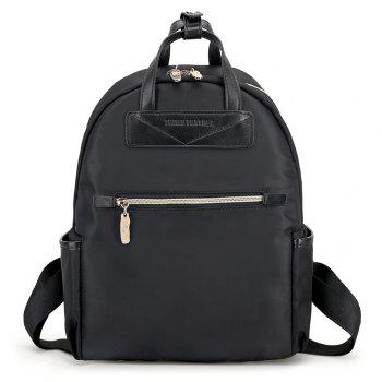 Nylon Double Handles Backpack - BLACK BLACK