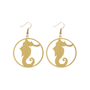 Circle Hippocampus Hook Drop Earrings -  GOLDEN