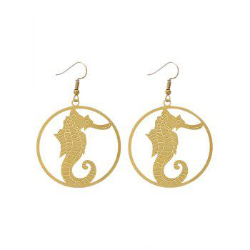 Circle Hippocampus Hook Drop Earrings - GOLDEN GOLDEN