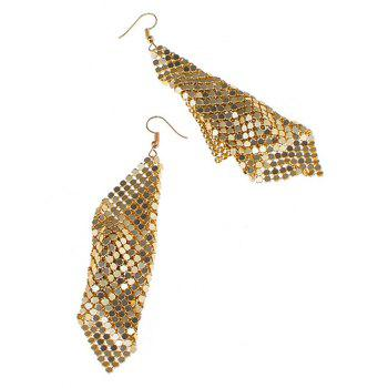 Sparkly Geometric Disc Hook Drop Earrings -  GOLDEN