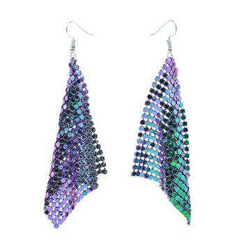 Sparkly Geometric Disc Hook Drop Earrings - COLORMIX COLORMIX