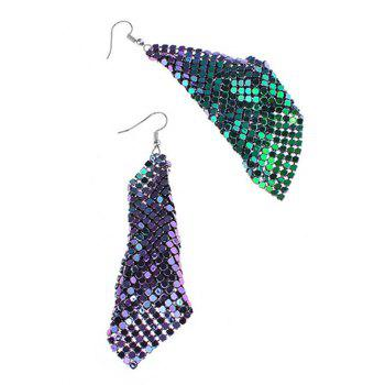 Sparkly Geometric Disc Hook Drop Earrings - COLORMIX