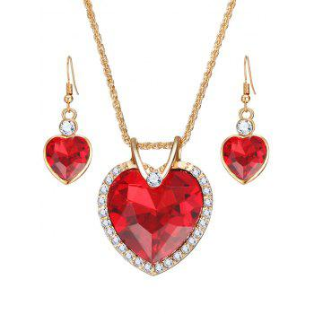 Faux Crystal Gem Rhinestone Heart Jewelry Set - RED RED