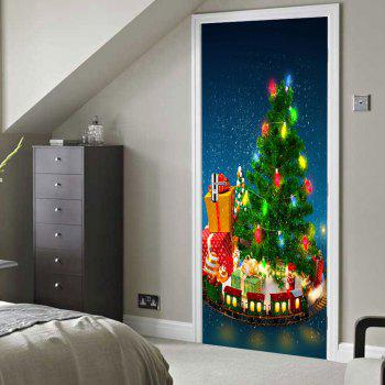 Christmas Tree with Gifts Pattern Door Stickers - GREEN GREEN
