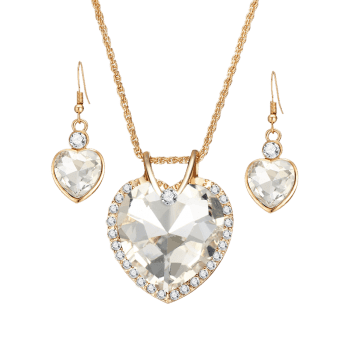 Faux Crystal Gem Rhinestone Heart Jewelry Set - WHITE