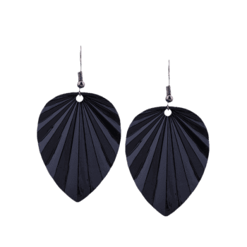 Metal Elliptic Leaf Pattern Drop Earrings - BLACK