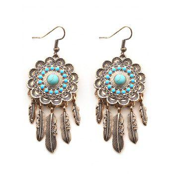 Bohemian Faux Turquoise Blossom Feather Earrings - GOLDEN GOLDEN